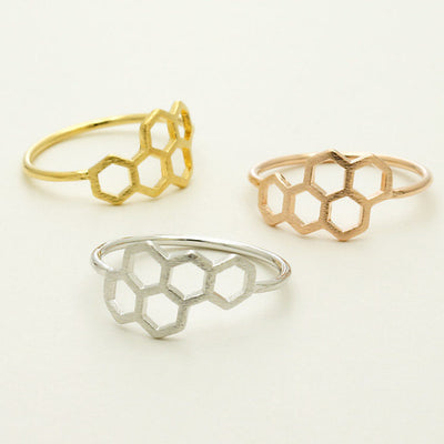 Fashion Honeycomb Shape and Linked Hexagon Finger Ring for Women