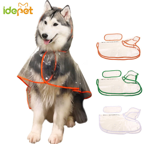 Transparent Dog Raincoat for Big and Small Dogs