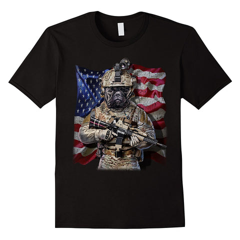 2018 Hot Sale 100% cotton USA America Patriot French Bull Dog as Army Commando T-Shirt Tee shirt