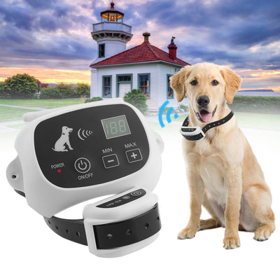 Rechargeable & Waterproof Wireless Dog Fence No-Wire Pet Containment System With Progressive Warning Tone US Plug