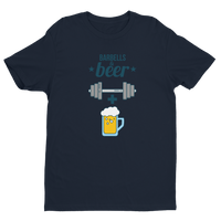 Barbells + Beer - Short Sleeve Fitted T-shirt