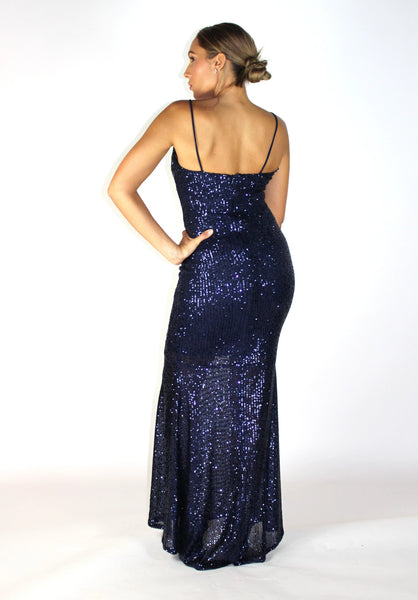 Marilyn Navy Maxi Dress Sequin