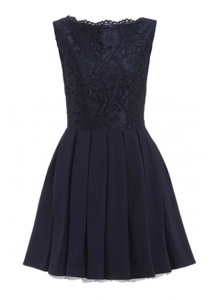 Day-Z Lace Top Pleated Skater Dress in Blue
