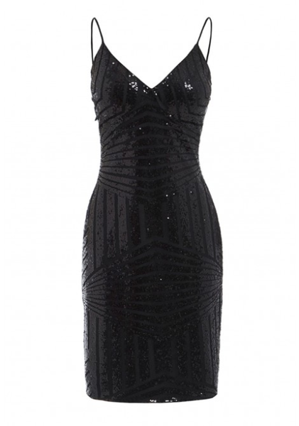 Mariah Embellished Bodycon Mini Dress in Black