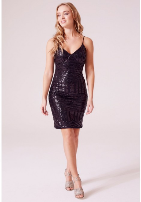 Revie Mariah Embellished Bodycon Mini Dress in Black