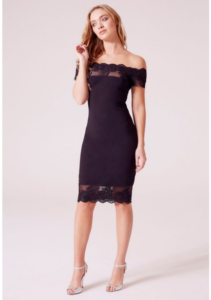 Revie Penelope Bardot Lace Trim Midi Dress in Black