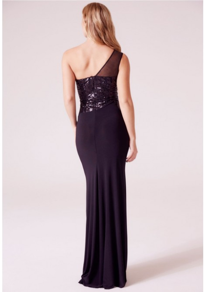 Sophia One Shoulder Sequin Maxi Dress in Black