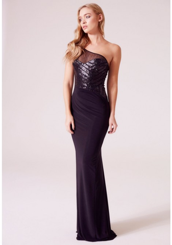 Revie Sophia One Shoulder Sequin Maxi Dress in Black