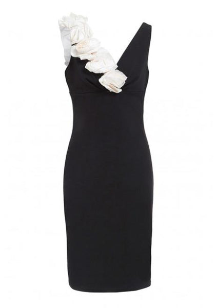 Amy V Neck Flower Detail Midi Dress In Black