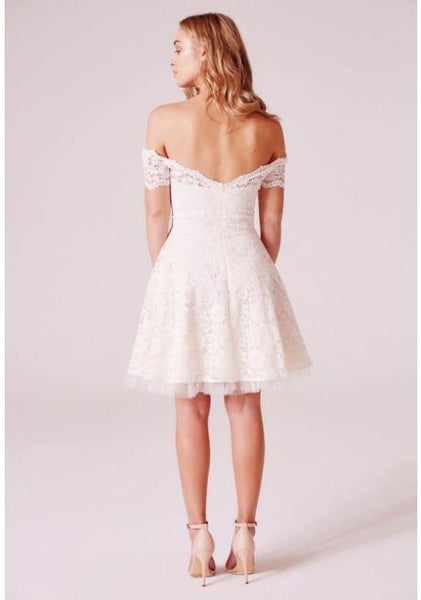 Tessa Off The Shoulder Lace Skater Dress In Cream Mini