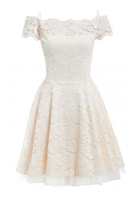 4446e0cdb9be Tessa Off The Shoulder Lace Skater Dress in Cream – Revielondon