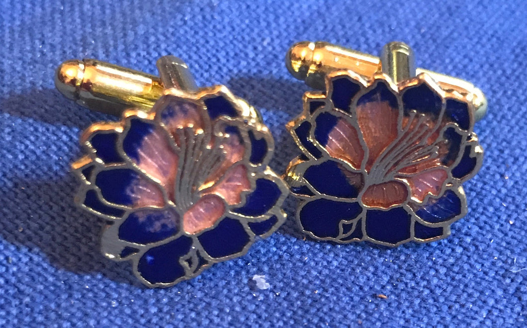 Cufflinks - Flower - Navy - Cloisonne