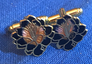 Cufflinks - Flower - Black - Cloisonne