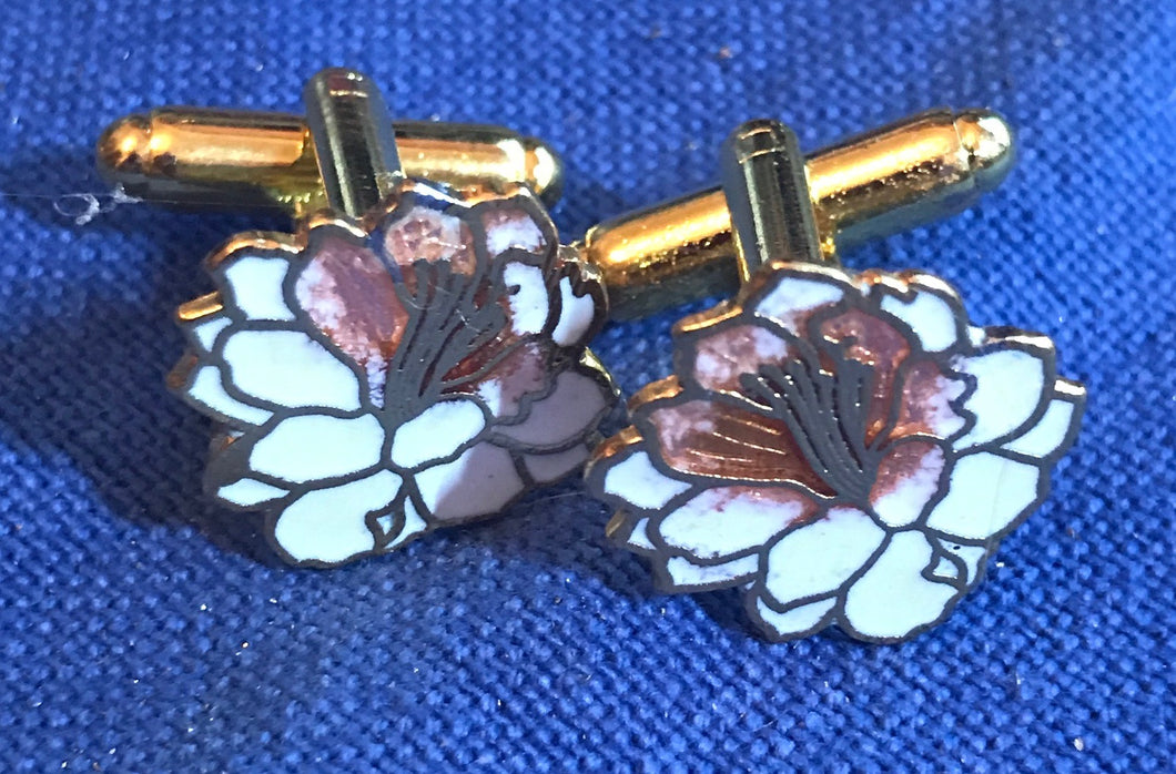 Cufflinks - Flower -  White - Cloisonne
