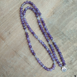 Natural Amethyst Lotus Mala