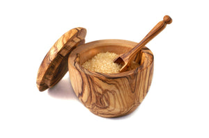 Olive Wood Sugar Bowl With a Spoon Handmade Perfect for weddings, house-warming, anniversaries, special occasions