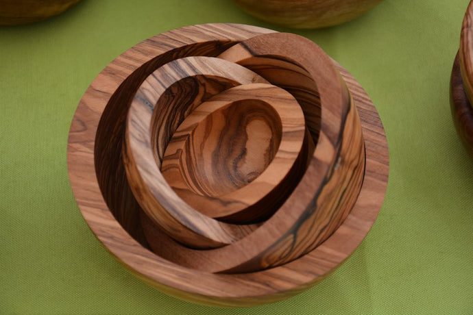 NESTING BOWLS Made of Olive Wood, handmade, Natural, Chemical Free, seamless, nonporous, Tableware