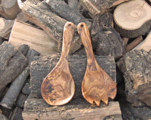 Serving salad Spoon Set Made Of Olive Wood, handmade, natural, seamless, nonporous, kitchen utensils