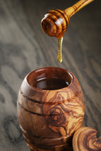 Olive Wood Honey Jar With Dipper Made of Olive Wood Handmade,Natural,Chemical Free, seamless
