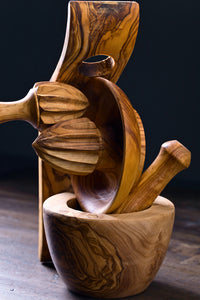 MORTAR AND PESTLE made from a single block of olive wood, Handmade, chemical free,seamless,nonporous
