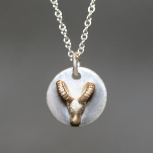 Ram Disk Necklace in 14K Gold and Sterling Silver with Diamonds