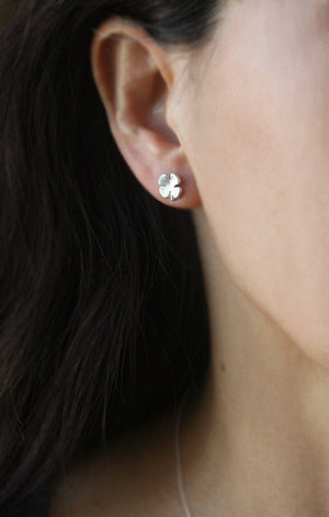 Small Four Leaf Clover Stud Earrings in Sterling Silver