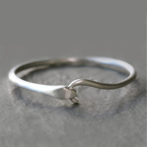 Snake Tail Bangle in Sterling Silver with Diamonds
