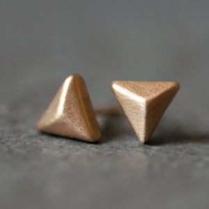 Triangle Pyramid Stud Earrings in 14K Gold earrings,geometric triangle-pyramid-stud-earrings-in-14k-gold 14K Yellow,14K White