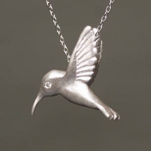 "Hummingbird Pendant Necklace in Sterling Silver with Diamonds animal,necklaces hummingbird-pendant-necklace-in-sterling-silver-with-diamonds 16"",17"",18"""