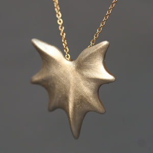 Thorny Leaf Necklace in Brass with Gold Fill Chain