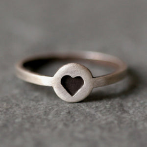 Black Heart Ring in Sterling Silver
