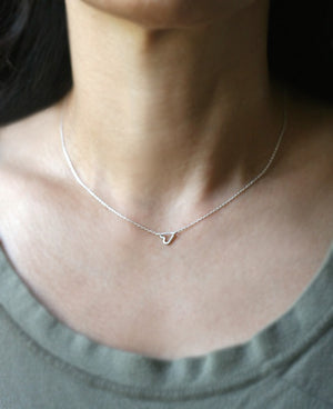 "Tiny Sideways Heart Necklace in Sterling Silver hearts,necklaces tiny-sideways-heart-necklace-in-sterling-silver 16"",17"",18"""