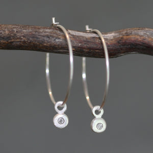 Diamond Button Drop Hoop Earrings in Sterling Silver