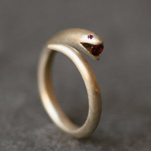 Small Open Mouth Snake Ring in Brass with Ruby and Garnet rings,animal small-open-mouth-snake-ring-in-brass-with-ruby-and-garnet 5,5.5,6,6.5,7,7.5,8,8.5,9