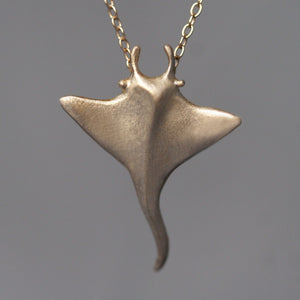 "Manta Ray Pendant Necklace in 14k Gold animal,necklaces,ocean manta-ray-pendant-necklace-in-14k-gold 18"",20"",22"""