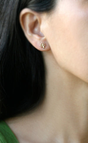 Tiny Spider Earrings in 14k Gold
