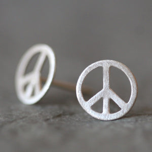 Peace Sign Stud Earrings in Sterling Silver symbols,earrings peace-sign-stud-earrings-in-sterling-silver Default Title