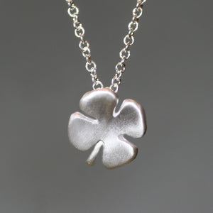 Small Four Leaf Clover Necklace in Sterling Silver