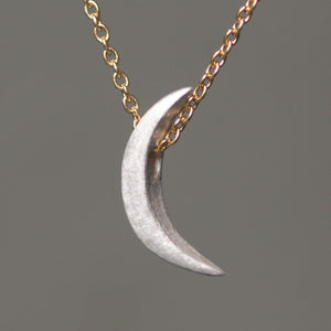 "Crescent Moon Necklace in Sterling Silver with Gold Filled Chain necklaces,symbols crescent-moon-necklace-in-sterling-silver-with-gold-filled-chain 16"",17"",18"""