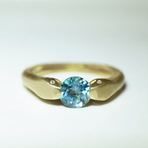 Double Headed Snake Ring in Brass with London Blue Topaz and Diamonds