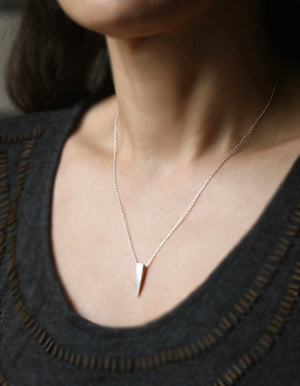"Single Spike Necklace in Sterling Silver geometric,necklaces single-spike-necklace-in-sterling-silver 16"",17"",18"""