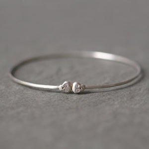 Baby Skull Bangle in Sterling Silver with Diamonds