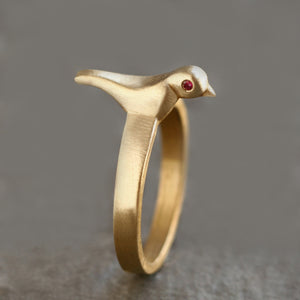 Bird Ring in Brass with Rubies
