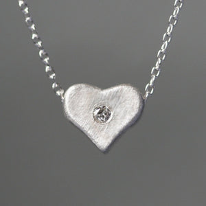 Curved Heart Necklace in Sterling Silver with Diamond