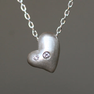 "Puffy Heart Necklace in Sterling Silver with Diamonds wedding,hearts,necklaces puffy-heart-necklace-in-sterling-silver-with-diamonds 16"",17"",18"""
