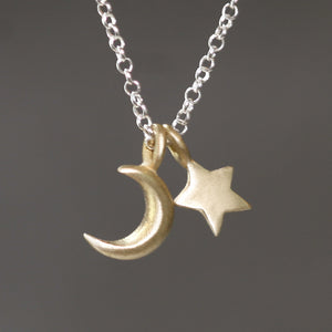 "Small Moon and Star Necklace in Brass and Sterling Silver symbols,necklaces small-moon-and-star-necklace-in-brass-and-sterling-silver 16"",17"",18"""