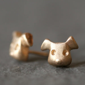 Puppy Stud Earrings in 14K Gold