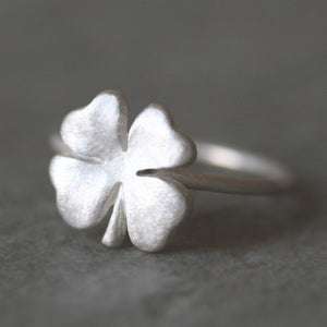 Four Leaf Clover Ring in Sterling Silver Luck for Sale,symbols,rings four-leaf-clover-ring-in-sterling-silver 4,4.5,5,5.5,6,6.5,7,7.5,8,8.5,9,9.5