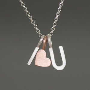 Double block initial Necklace with Heart Charm in 14k Gold and Sterling Silver