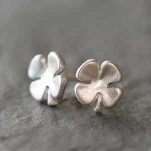 Small Four Leaf Clover Stud Earrings in Sterling Silver earrings,symbols,Luck for Sale small-four-leaf-clover-stud-earrings-in-sterling-silver Default Title
